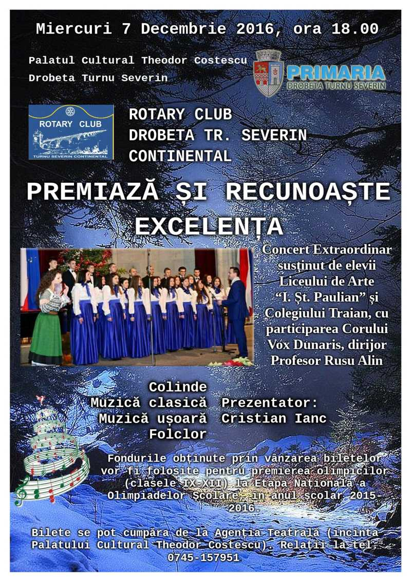 Rotary Club Drobeta Turnu Severin Continental premiază și recunoaște excelența